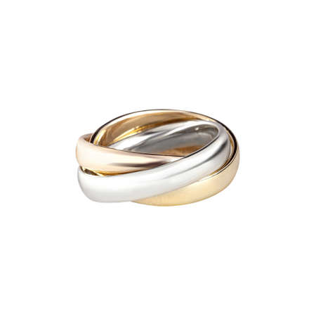 Diamonds Wedding three colors Ring group on white background isolated