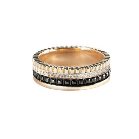 Diamonds Wedding three colors Ring group on white isolated cartier macro Banco de Imagens