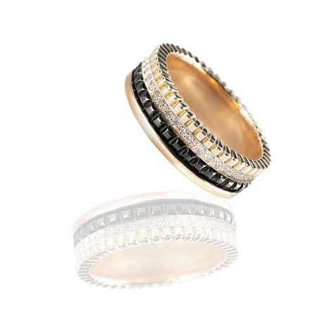 Diamonds Wedding three colors Ring group on white isolated Banco de Imagens