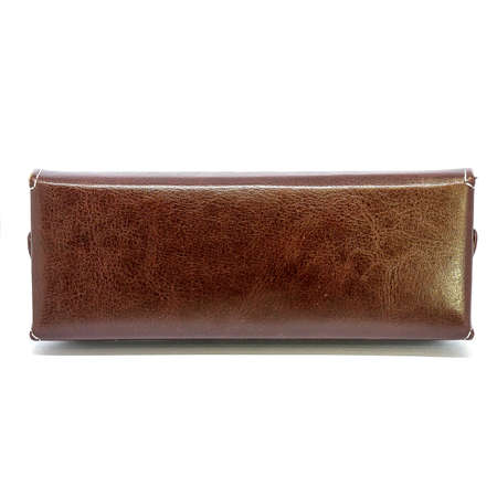 Leather jeans glasses case on white background isolated Foto de archivo