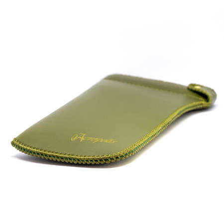 Leather jeans glasses case on white background isolated