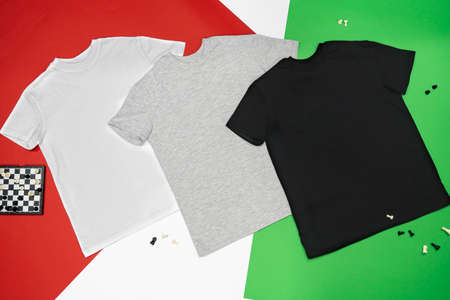 Cotton school clothes sports sweater pants t-shirt Standard-Bild