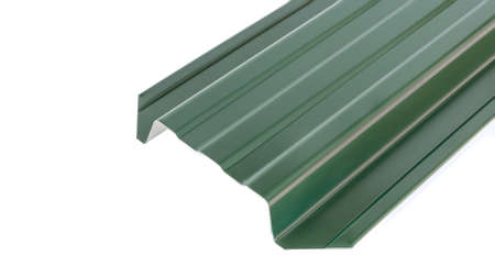 Blockhouse rails for fence colored colorful metal profile elements Stock Photo