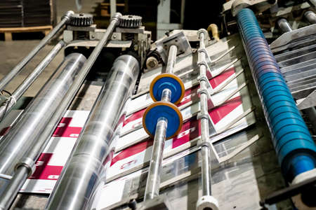 Printing at high speed on offset machine. Label, Rolled Up, Printing Out, Group of Objects Merchandise