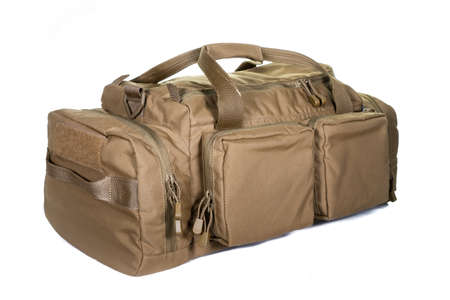 Military style bag. Isolated on white. Canvas Backpack Front View of Modern Waterproof Camping Traveler Back Pack Bag with Shoulder Straps and Haul Loop Tactical Hiking Travel Travel