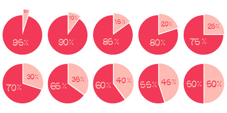 pie chart: vector red and pink 5, 10, 15, 20, 25, 30, 35, 40, 45, 50 pie diagrams isolated on white Illustration