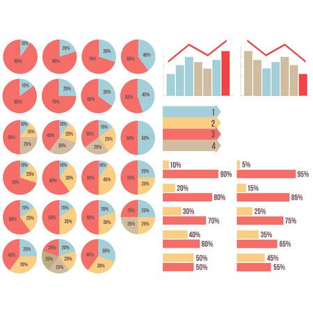 Wektor izolowane infograpfics set: wykresy kołowe, wykresy, wzrost i spadek grapfics, strzały