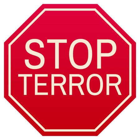 terror: vector stop terror red symbol, isolated on white background