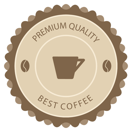 mocca: badge, brown cup with beans and premium quality best coffee signs, isolated on white Illustration