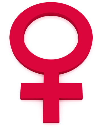 femme: feminine symbol, bright pink woman sign isolated
