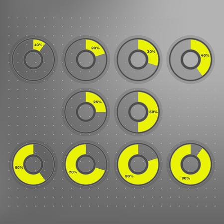 Infographics: 10, 20, 25, 30, 40, 50, 60, 70, 80, 90 geïsoleerde geel en grijs cirkeldiagrammen