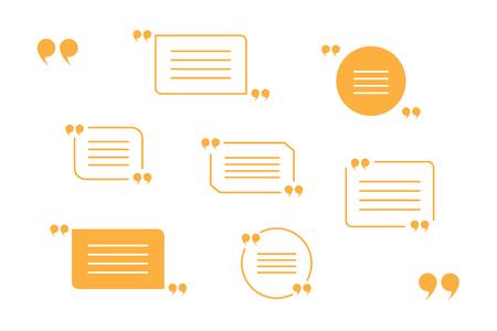 quotation marks: vector set of orange quotation marks isolated on white
