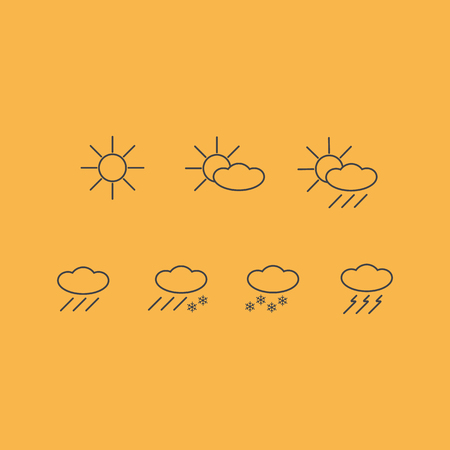 prognosis: vector icons of weather forecast sun clouds rain thunder symbols isolated