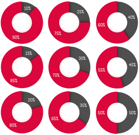 info chart: set of 3d red and grey circle diagrams: 10%, 15%, 20%, 25%, 30%, 35%, 40%, 45%, 50%