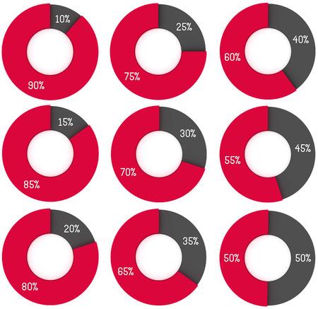 graficas de pastel: un conjunto de diagramas 3d círculo rojo y gris: 10%, 15%, 20%, 25%, 30%, 35%, 40%, 45%, 50%