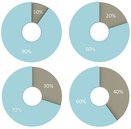 30 to 40: set of 10 20 30 40 percent blue and grey pie diagrams