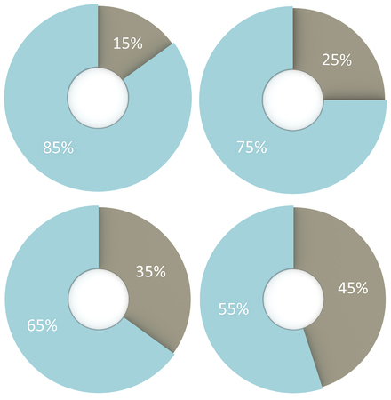 25 35: set of 15, 25, 35, 45 blue and grey pie diagrams isolated