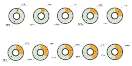 40 45: Infographics vector: 5, 10, 15, 20, 25, 30, 35, 40, 45, 50 percent yellow blue pie charts isolated Illustration