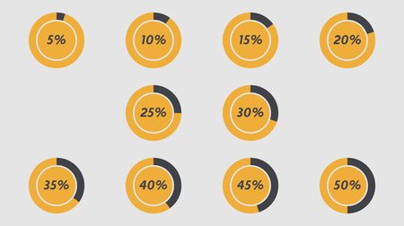 30 to 35: Infographics vector: 5%, 10%, 15%, 20%, 25%, 30%, 35%, 40%, 45%, 50% grey orange pie charts