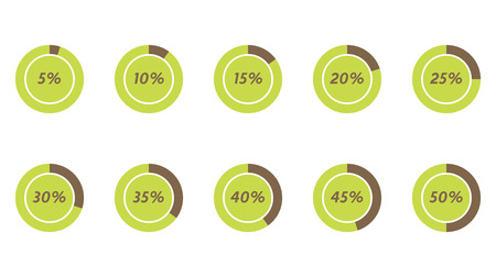 30 to 35: 5%, 10%, 15%, 20%, 25%, 30%, 35%, 40%, 45%, 50% green and brown vector pie charts