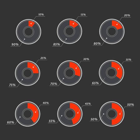 20 to 25: Infographics 10%, 15%, 20%, 25%, 30%, 35%,  40%, 45%, 50%  vector pie charts Illustration