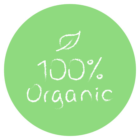fruit and veg: vector green 100% organic food symbol with leaf