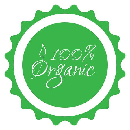 fruit and veg: vector green 100% organic food sticker symbol Illustration