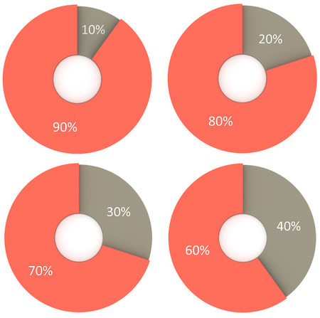 20 30: infographics 10% 20% 30% 40% red and grey pie charts Stock Photo