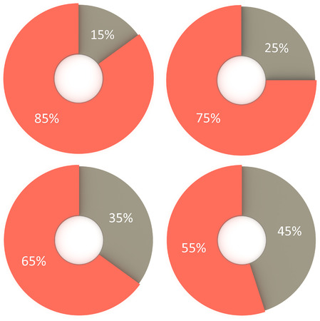 35: infographics 15% 25% 35% 45% red and grey pie charts