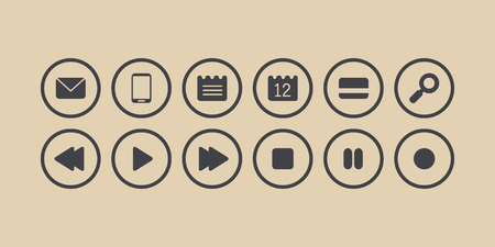 sms payment: Buttons isolated vector set. Sms, phone, note, calendar, credit card, lens, play, stop, rewind, forward, pause, record grey icons in circles