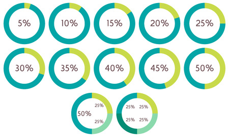 20 to 25: Infographics vector: 5%, 10%, 15%, 20%, 25%, 30%, 35%, 40%, 45%, 50% green and blue circle diagrams, isolated on white background