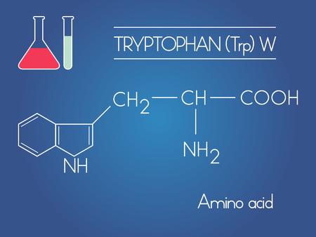 amine: vector Tryptophan amino acid formula with test tubes on blue background