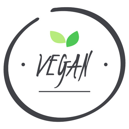 fruit and veg: vector grey Vegan logo circle symbol with green leaves