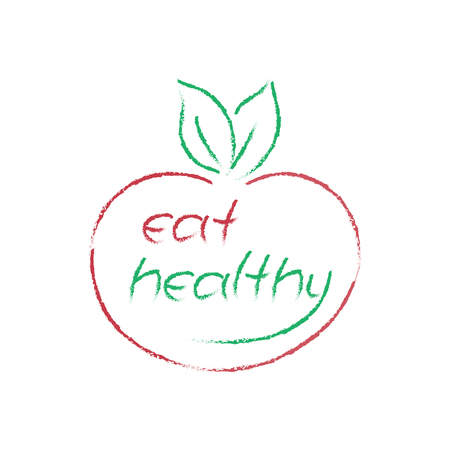 eat healthy: vector Eat Healthy symbol, apple shape logo
