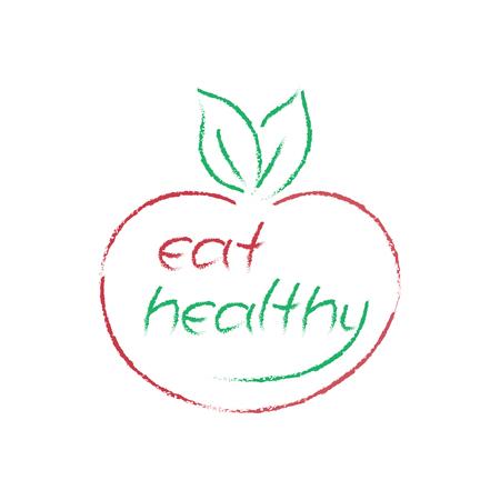 fruit and veg: vector Eat Healthy symbol, apple shape logo