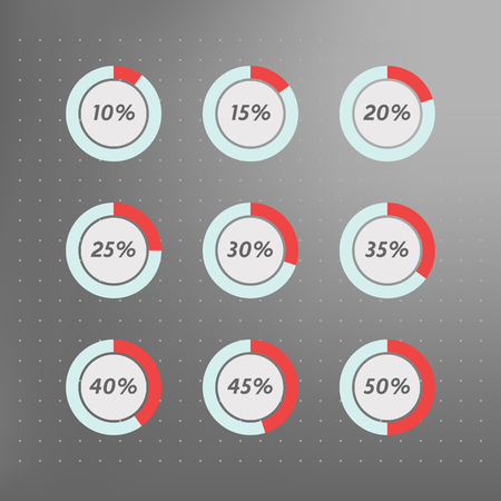 40 45: Infographics vector: 10%, 15%, 20%, 25%, 30%, 35%,  40%, 45%,  50%  blue red and grey pie charts on dotted background