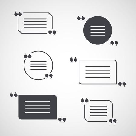 quotation marks: vector set of quotation marks isolated on grey gradient background