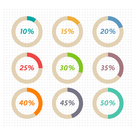 40 45: Infographics vector: 10%, 15%, 20%, 25%, 30%, 35%,  40%, 45%,  50%  colorful pie charts on dotted background Illustration