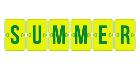 indicator board: Summer Scoreboard, yellow and green flip symbol isolated on white background