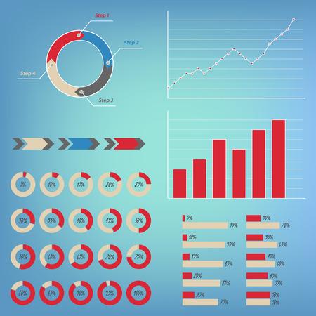 80 85: Infographics Set. Pie, Graph, Line charts, arrow, circle 4 steps diagrams