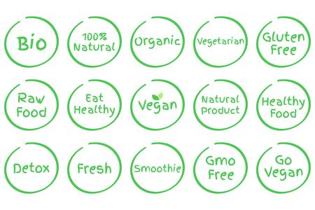 Set of Healthy Food Symbols Vettoriali