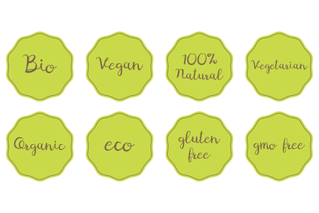 fruit and veg: set of green stickers for healthy food. 100% Natural Organic Bio Vegan Vegetarian Eco Glunen GMO free symbols