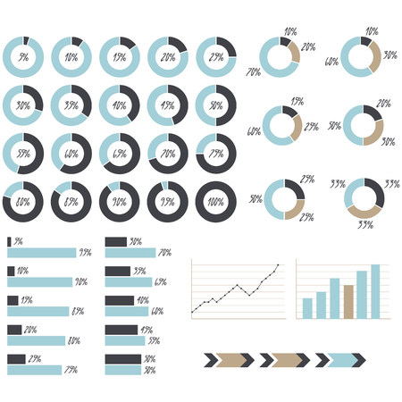 70 75: blue, grey and brown infographics: pie charts, graph charts, arrows, graphic of growth