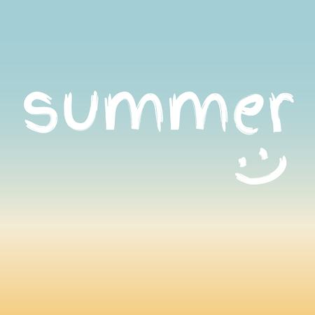 playa de verano, azul vacaciones, amarillo y blanco con una sonrisa Ilustración de vector