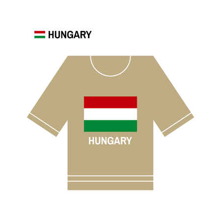 brown shirt: Hungarian t-shirt symbol. Hungary National sport team isolated on white. European Championship.
