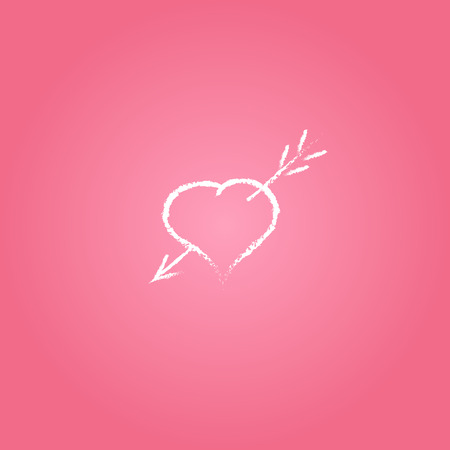 devotion: white heart with arrow, fall in love symbol  isolated on pink background Stock Photo