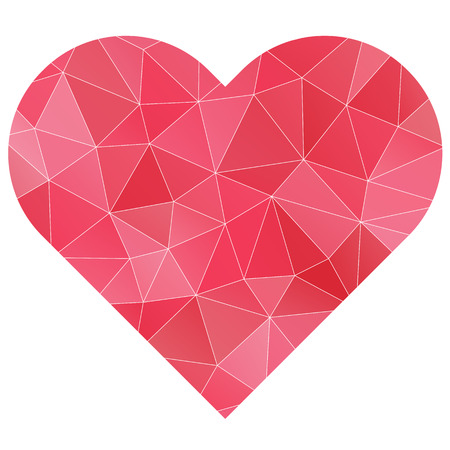 polygonal pink heart isolated symbol