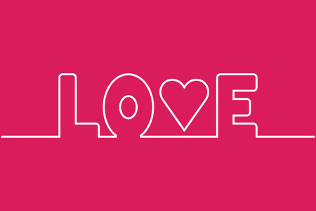 devotion: Love word line, isolated white symbol with heart on pink background
