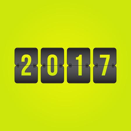 indicator board: year 2017 Scoreboard black and yellow flip symbol