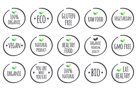 grey symbols with green leaves on white. 100% Organic, Eco, Gluten Free, Raw Food, Vegetarian, Vegan, Natural Product, Healthy Food, Premium Quality, Gmo Free, You are what you eat, Bio, Eat Healthy.